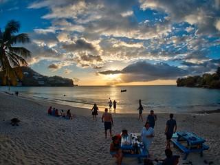 An interesting sunset, Morne Rouge bay, Grenada