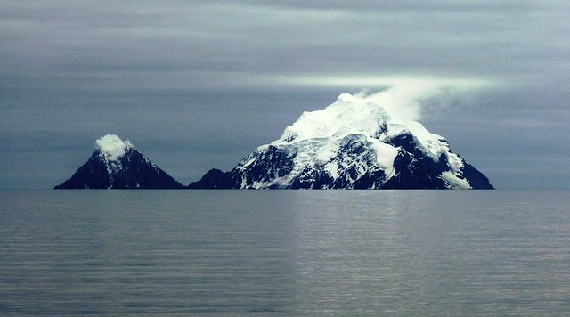 Snow Capped Island Mountains along Antarctica Peninsula