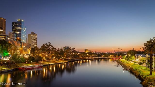 Dawn over the Yarra river, Melbourne, Australia