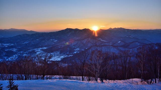 Sunset moment at Mt. Moiwa, Sapporo Shi, Hokkaido, Japan