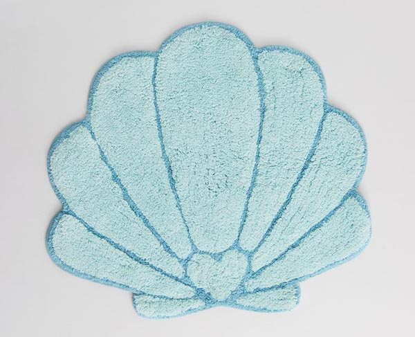 mermaid shell bath mat