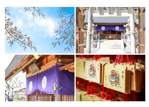 春の八事塩竈神社 名古屋市天白区 晴れ 青空