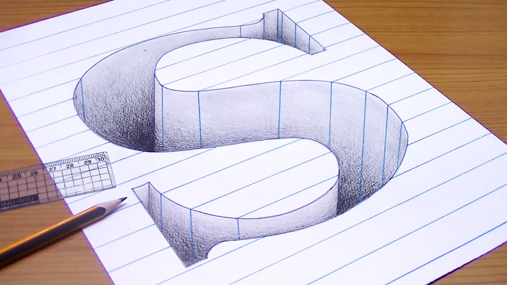 How-to-Draw-3D-Letter-S-3D-Trick-Art   متعة الرسم   Flickr