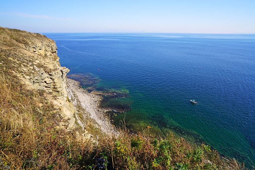 Wonderful seascape from the cliffs of Russkiy Island, Russia