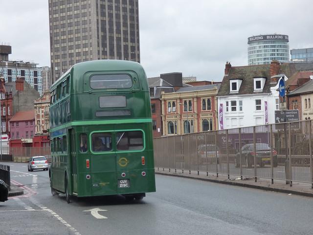 Green Line heritage bus on the 750 to Birmingham, seen on Bristol Street