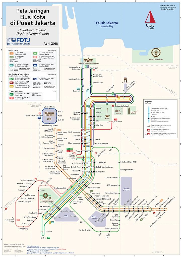 Downtown Jakarta Bus Route Map April 2018 Adriansyah