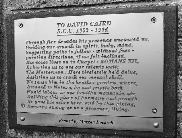 Memorial plaque to David Caird