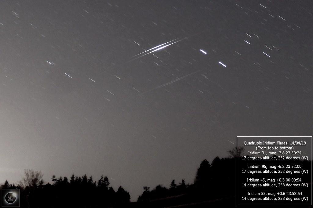 QUADRUPLE!!! Iridium Flares 14/04/18 | Taken from Oxfordshir