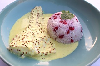 POACHED COD FILLET WITH WHOLE-GRAIN MUSTARD SAUCE AND POMEGRANATE PILAF | by www.ChefsOpinion.org