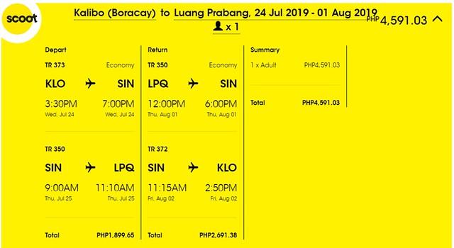 Scoot Airlines Kalibo to Luang Prabang Roundtrip Promo