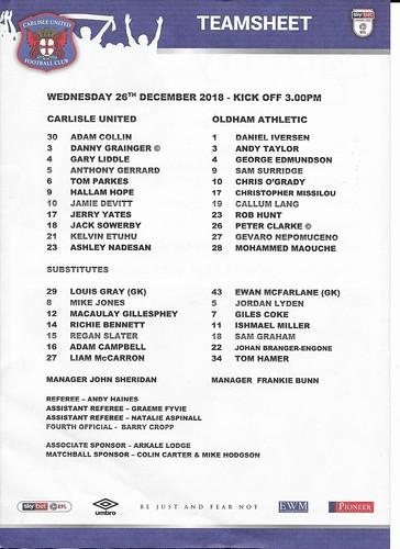 Carlisle V Oldham 26-12-18 T/s | by cumbriangroundhopper