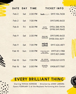 Every Brilliant Thing Feb 2-16 | by OURAWESOMEPLANET: PHILS #1 FOOD AND TRAVEL BLOG