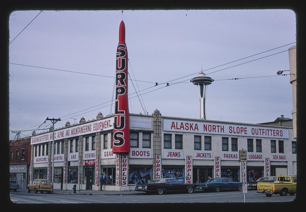 Surplus Store, horizontal, 1st Avenue & Battery Street, Seattle, Washington (LOC)