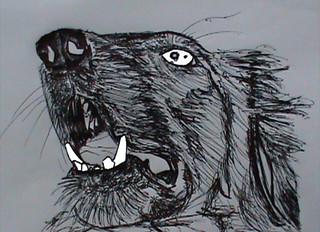 Dibujo de perro con tinta china sobre papel. | by herneysartista