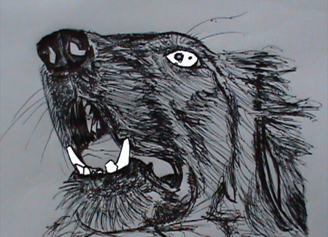 Dibujo de perro con tinta china sobre papel.
