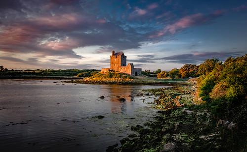 landscape castle evening sunset sky clouds water sea coast dunguaire kinvara ireland ir tower