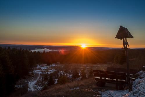 dawn sunrise summit peak schneekopf thüringen deutschland germany thuringia