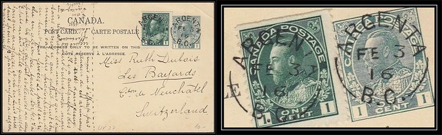 British Columbia / B.C. Postal History - 3 February 1916 - ARGENTA, B.C. (split ring / broken circle cancel / postmark) to Les Bayards, Canton de Neuchâtel, Switzerland