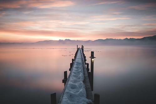 chiemsee dedeutschland deutschland sunrise herkunft europa chiemgau mist germany bavaria fog jetty bayern alps clouds seeonseebruck de