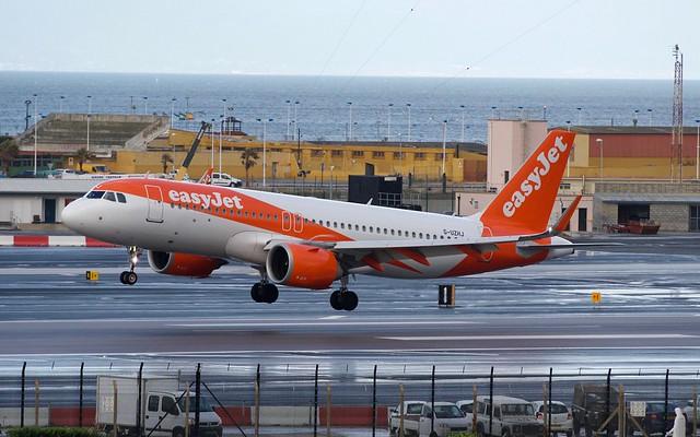 easyJet A320neo landing at Gibraltar