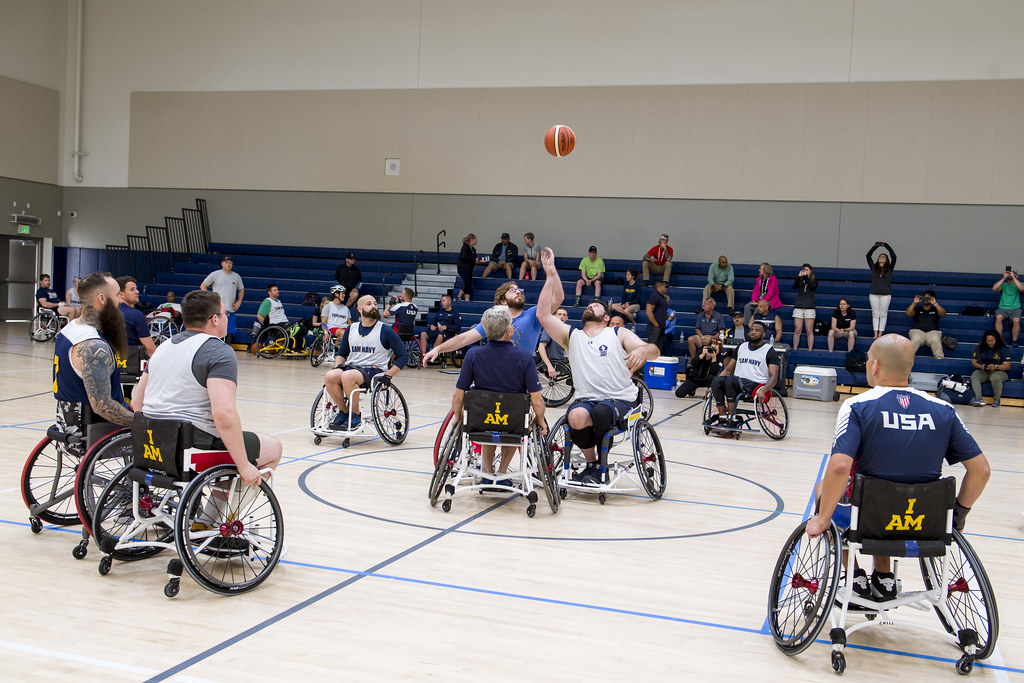 Wounded warriors participate in the 2019 Navy basketball trials.