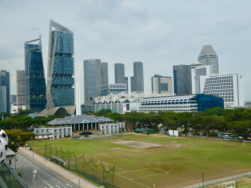 The Padang viewed from the rooftop terrace of the National Museum of Singapore