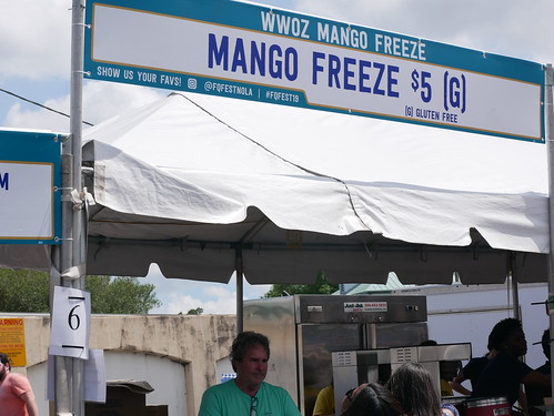WWOZ Mango Freeze booth on Day 1 of French Quarter Fest - 4.11.19. Photo by Louis Crispino.