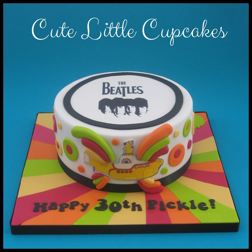 Remarkable Beatles Birthday Cake A Photo On Flickriver Funny Birthday Cards Online Alyptdamsfinfo