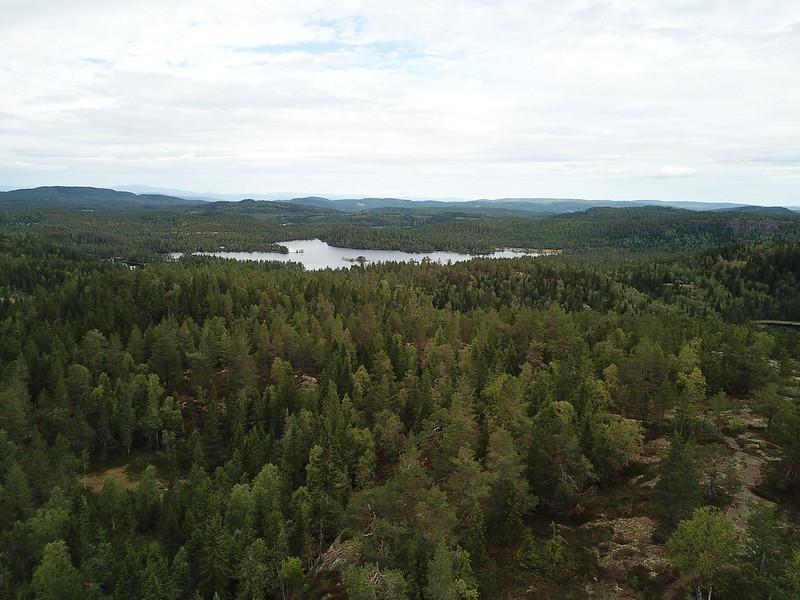 11-Utsikt mot Solbergvannet fra Lokkeråsen (drone)