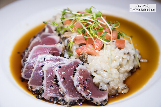 Sesame crusted tuna with mushroom risotto