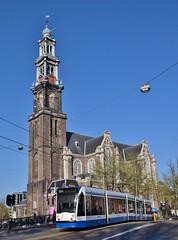 GVB Combino 2123 Rozengracht/Prinsengracht/Westerkerk Amsterdam