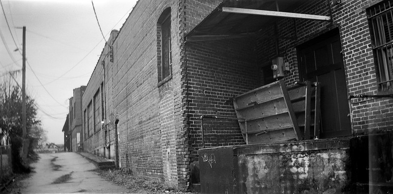 back alley, architecture, loading dock, West Asheville, North Carolina, (Eastman Kodak Co. Successor to) Blair Camera No. 7 Wend Hawk Eye, Kodak TriX 400, Ilford Ilfosol 3 developer, 1.17.19