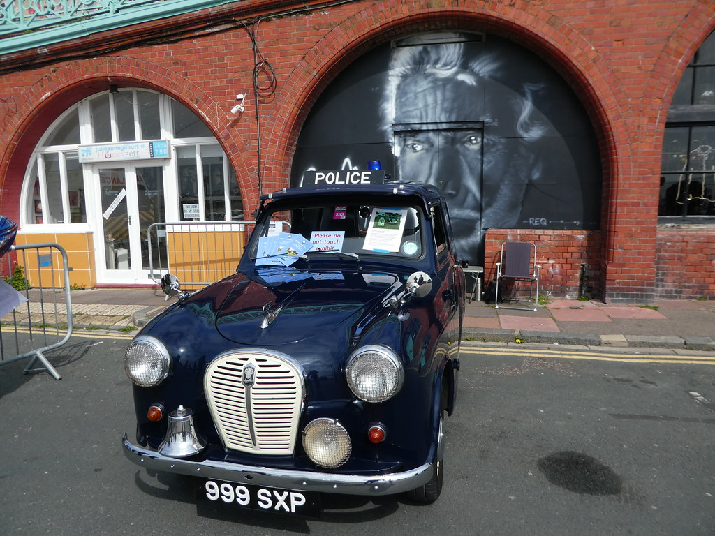Old police car on display at the classic car event Brighton seafront