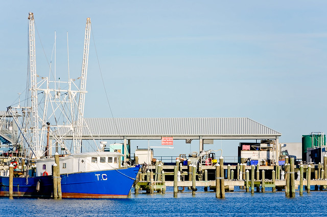 Shrimp boat docked at Pass Christian Harbor in Pass Christian Mississippi