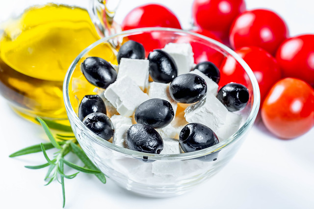 Feta cheese, olive oil and black olives