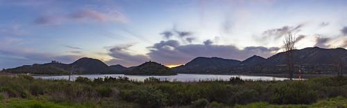 escondido california unitedstatesofamerica us sandiego lake lago panorama sunset twilight reservoir