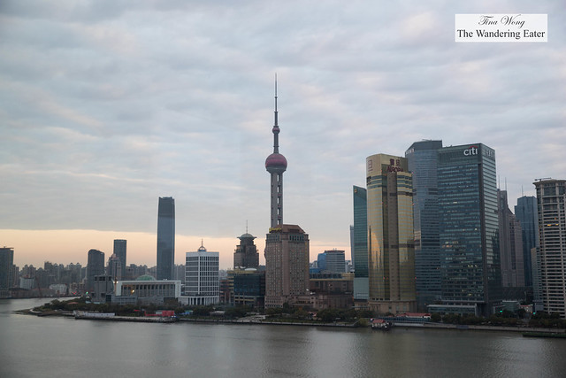 The view of The Bund during sunrise