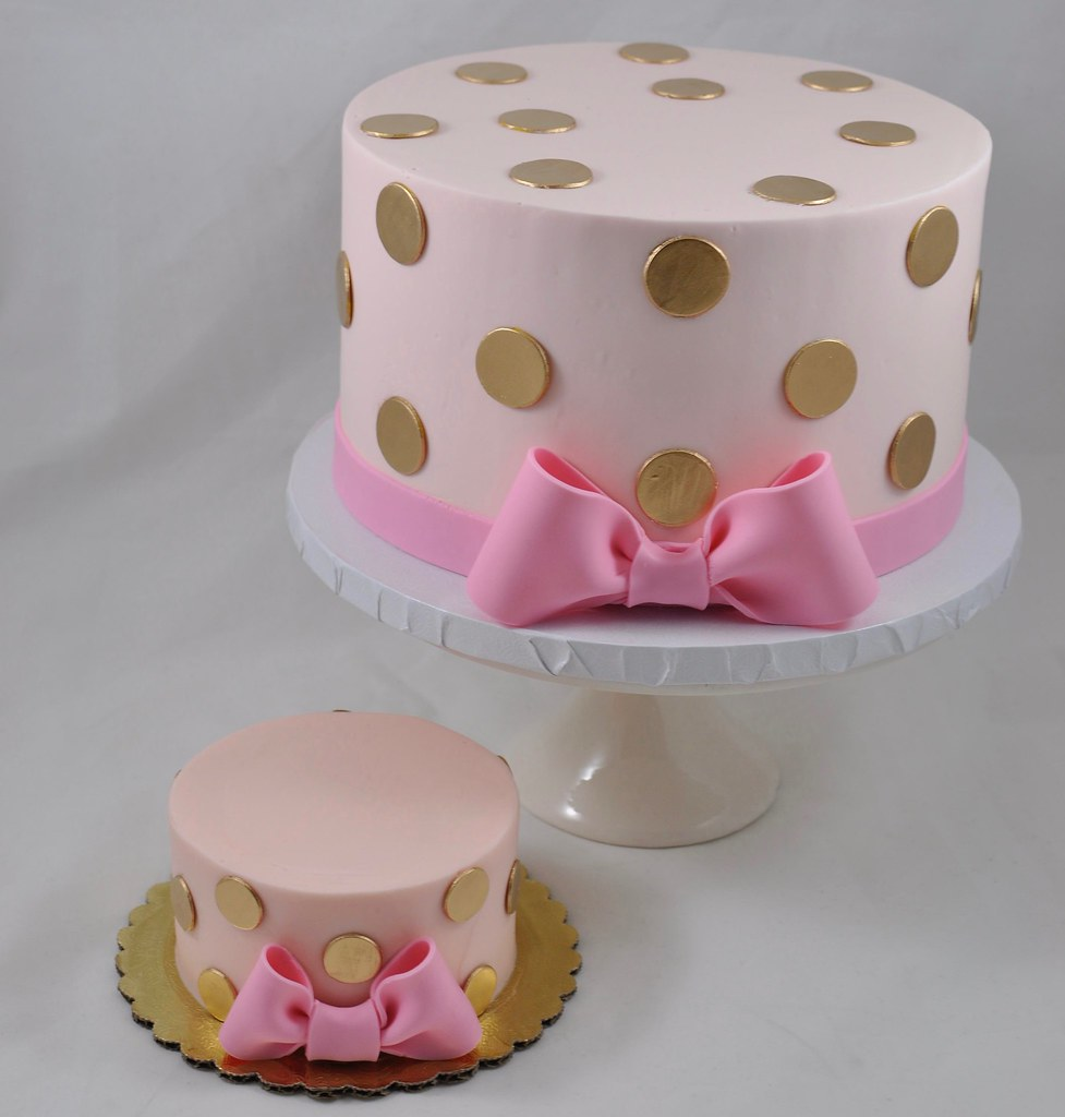 Remarkable Pink And Gold Polka Dot Cake Jenny Wenny Flickr Funny Birthday Cards Online Fluifree Goldxyz