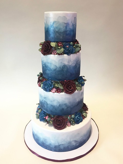 Blue Watercolor with Sugar Flowers 900553