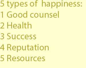 3 Welfare or happiness includes five parts. One part of it is good counsel, a second soundness of the senses and bodily health, a third success in one's undertakings, a fourth a reputation with one's fellow-men, a fifth ample means in money and in w