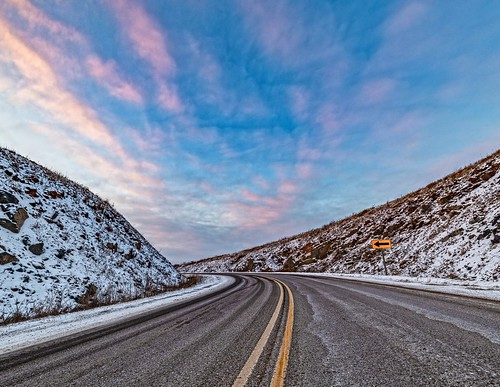 highway road clouds sky landscape nikon d850 winter snow cold wisconsin midwest explore travel blue yellow outside design nikkor sunset nature white art light sun new orange