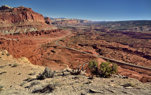 A Highway Cuts Across the Capitol Reef Landscape (Capitol Reef National Park)