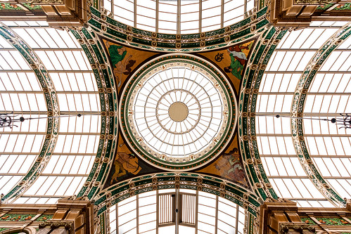 architecture arch ceiling up lookingup lowangleofview lowpov leeds countyarcade victoriaquarter england westyorkshire shoppingcentre symmetry canoneos40d city