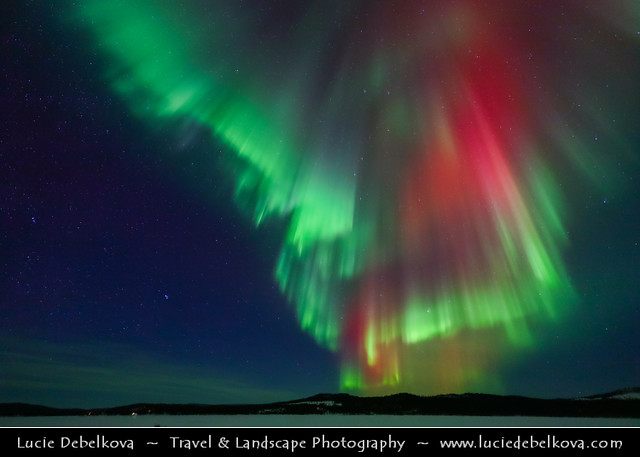 Sweden - North of the Arctic Circle - Lappland under fresh cover of snow during winter time - Aurora borealis - Northern light