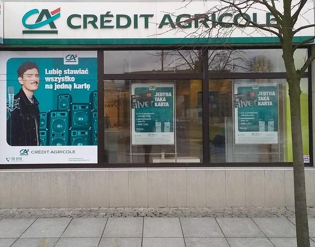 French Credit Agricole bank in Tomaszów Mazowiecki, Poland, EU PL/ Francuski Credit Agricole w mieście