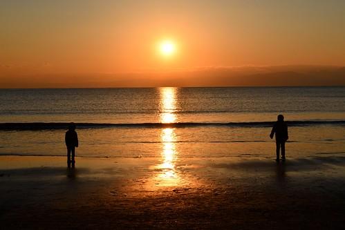 enoshima view sunrise sea beach landscape