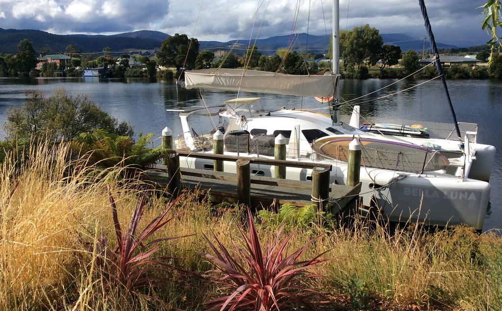 Tied up in the Huon River in Huonville.