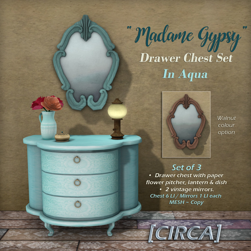"@ The Boardwalk | [CIRCA] – ""Madame Gypsy"" – Drawer Chest Set – In Aqua"