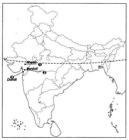 Class 10 History Map Work Chapter 3 Nationalism in India A4