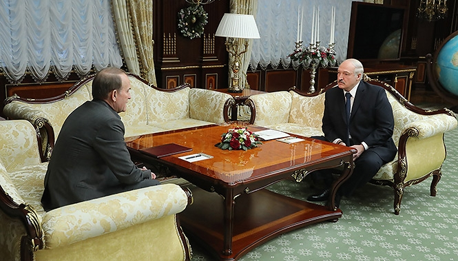 Виктор Медведчук и Александр Лукашенко на переговорах в Минске 14.01.2019
